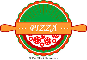 Pizza icon or label with an old-fashioned wooden rolling pin...