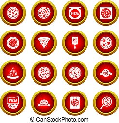 Pizza icon red circle set