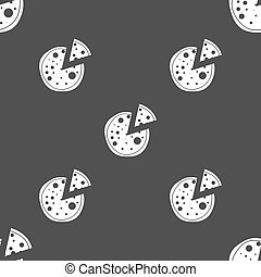 Pizza Icon. Seamless pattern on a gray background. Vector