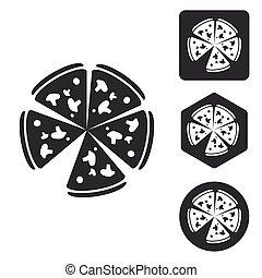 Pizza icon set, monochrome