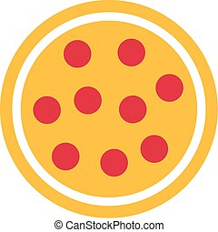 Pizza icon with cheese and salami