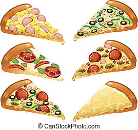 Pizza icons - Illustration of six different style pizza ...