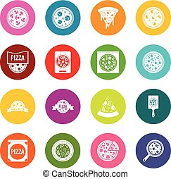Pizza icons many colors set