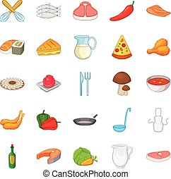 Pizza icons set, cartoon style