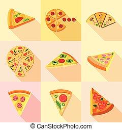 Pizza icons set, flat style