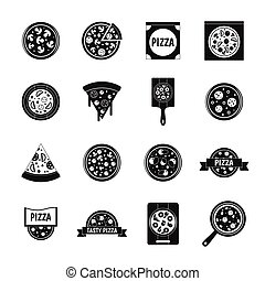 Pizza icons set food, simple style
