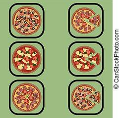 Pizza icons set