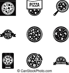 Pizza icons set, simple style