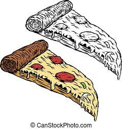 Pizza illustration on white background. Design element for logo,