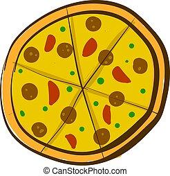 pizza, illustration, stor, vektor, bakgrund, vit