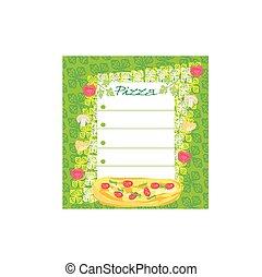 pizza, illustrazione, menu, vettore, sagoma