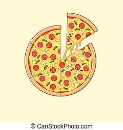 pizza, illustrazione