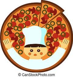 pizza, ilustração, bandeja, caricatura, head-cook