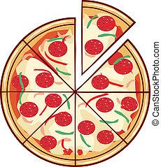 pizza, ilustrace, s, jeden, krajíc