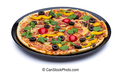 Pizza in a black plate