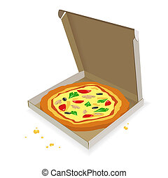 Pizza in a cardboard box on a white background