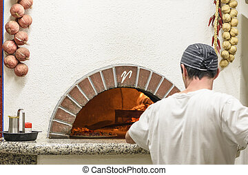 Pizza in a hot oven