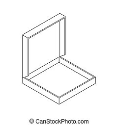 Pizza in box empty open isolated. vector illustration