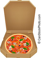 Pizza In Box Gradient Mesh, Vector Illustration