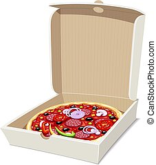 Pizza in box. Italian traditional food.