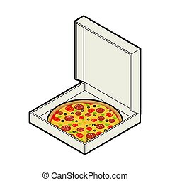 Pizza in box open isolated. Fastfood vector illustration