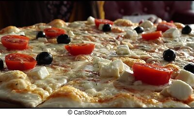 Pizza in cafe. Close up view. Top view - Pizza in cafe....