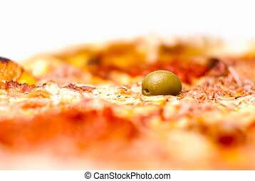 pizza in extremely shallow depth of field with focus on olive