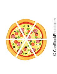 Pizza in flat style isolated on white background. Icon food