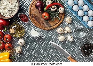 pizza., ingrédients, sommet, cuisine, espace, fer, table, vue., copie, pizza