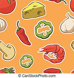 Pizza Ingredient Seamless Pattern