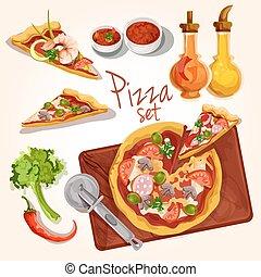 pizza, ingredientes, conjunto