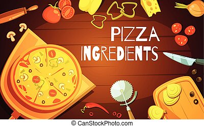 Pizza Ingredients Background - Colorful background with...