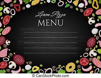 Pizza ingredients chalkboard background