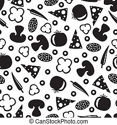 Seamless pattern with silhouette images ingredients for pizza