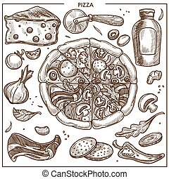 Pizza ingredients sketch vector icons for Italian pizzeria ...