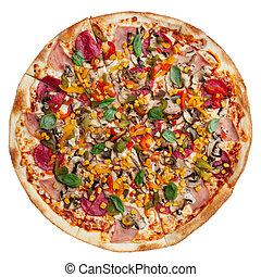 Pizza isolated on white background - fresh.