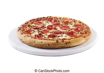 Close-up shot of a pepperoni pizza isolated on plain white background.