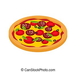 Pizza isometric style isolated. Fast food vector illustration