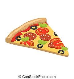 Pizza isometrics. 3D Italian food. Delicious fresh slice of...
