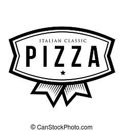 pizza, -, italský, klasik, vinobraní, emblém