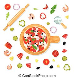 pizza, jogo, composição, caricatura