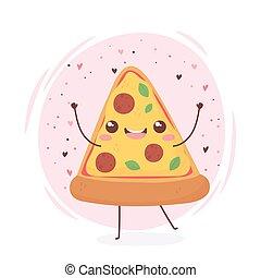 pizza kawaii food cartoon character design