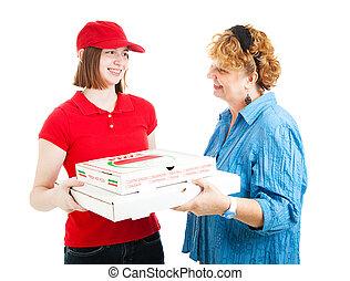 pizza, kehren auslieferung zurück, weiß