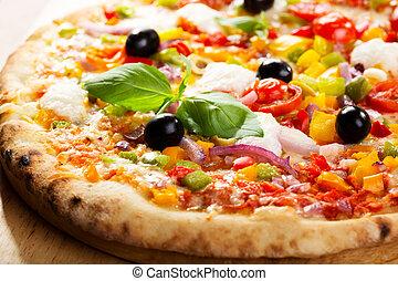 pizza, légumes