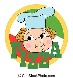 Pizza label design with a cartoon c