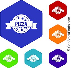 Pizza label with ribbon icons set hexagon