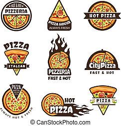 Pizza labels. Pizzeria logo design italian cuisine pie food ingredients vector colored badges template