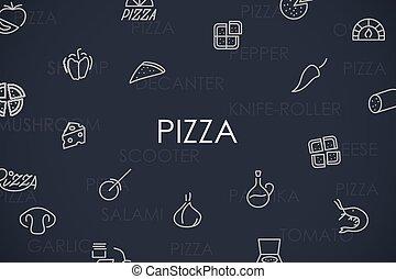 pizza, linea sottile, icone