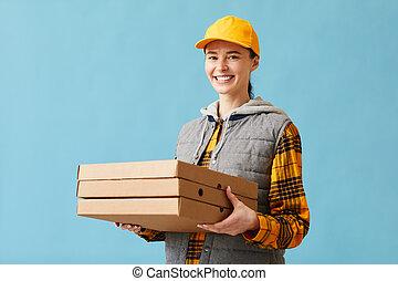 pizza, livrer, femme
