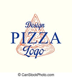 Pizza logo design, emblem for cafe, restaurant, cooking business, food shop, brand identity vector Illustration on a white background